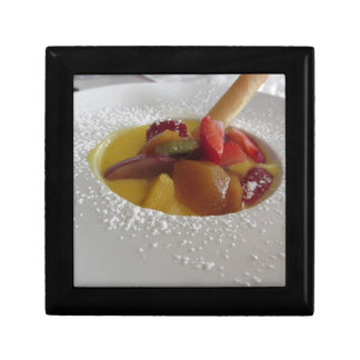 Zabaglione cream with fresh fruit and rolled wafer small square gift box