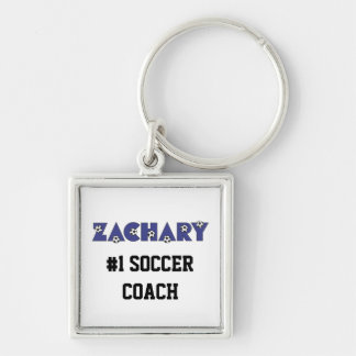 Zachary in Soccer Blue Silver-Colored Square Key Ring