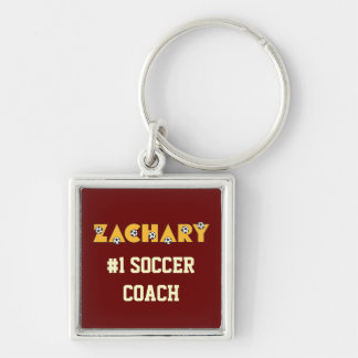 Zachary in Soccer Gold Silver-Colored Square Key Ring