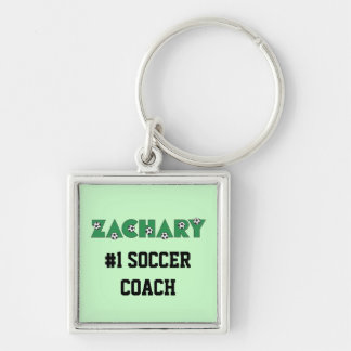 Zachary in Soccer Green Silver-Colored Square Key Ring