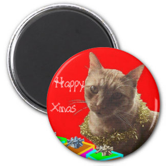 Zack The Xmas Cat 6 Cm Round Magnet