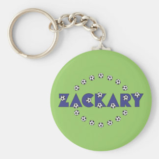 Zackary in Soccer Blue Basic Round Button Key Ring