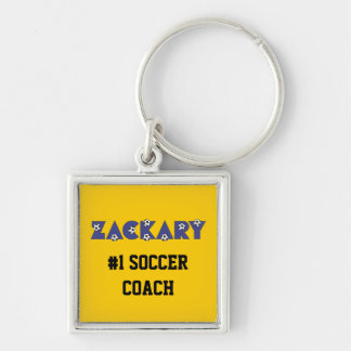 Zackary in Soccer Blue Silver-Colored Square Key Ring