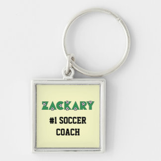 Zackary in Soccer Green Silver-Colored Square Key Ring