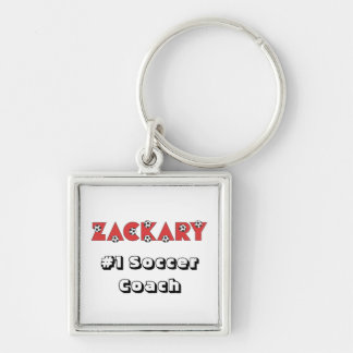 Zackary in Soccer Red Silver-Colored Square Key Ring