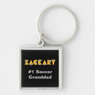 Zackary in Soccer Yellow Silver-Colored Square Key Ring