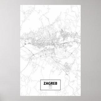 Zagreb, Croatia (black on white) Poster