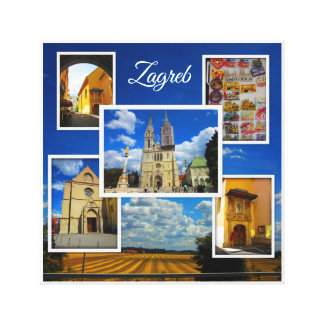 Zagreb Old Town Photo Collage Canvas Print