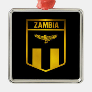Zambia Emblem Silver-Colored Square Decoration