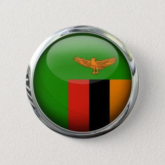 Zambia Flag Glass Ball 6 Cm Round Badge