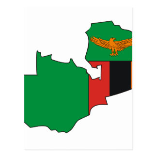 Zambia flag map postcard