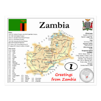 Zambia map Postcard