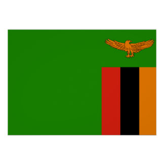 Zambia National World Flag Poster