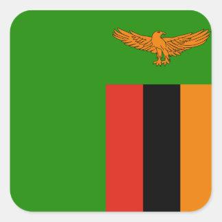 Zambia National World Flag Square Sticker