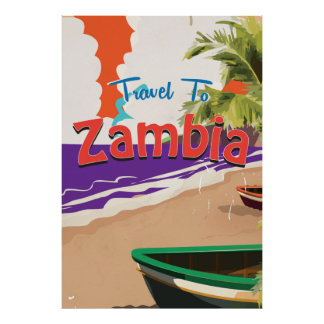 Zambia vintage travel poster