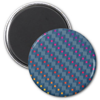 Zany abstract squares 6 cm round magnet