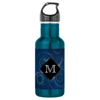 Zany Bar   Monogram Fun Pastel Chalk Blue Scribble 532 Ml Water Bottle