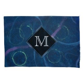 Zany Bed | Monogram Cute Blue Pastel Chalk Fun Pillowcase