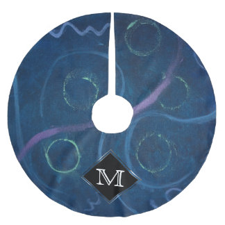 Zany Holiday | Monogram Pastel Chalk Fun Doodle Brushed Polyester Tree Skirt