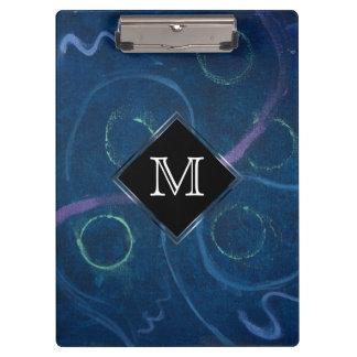 Zany Office   Monogram Trendy Pastel Chalk Blue Clipboard
