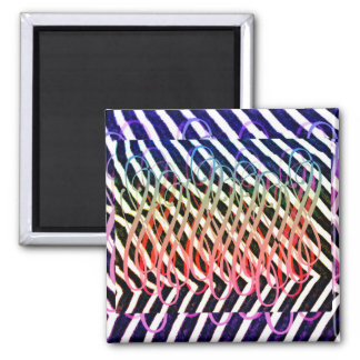Zany rainbow zebra stripes square magnet