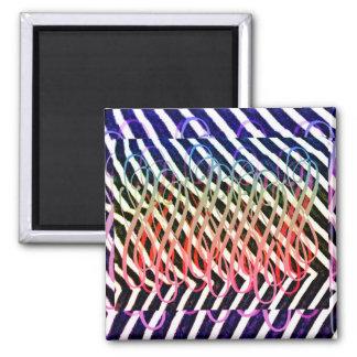 Zany rainbow zebra stripes square magnet