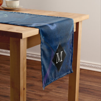 Zany Table | Monogram Pastel Fun Blue Chalk Cute Short Table Runner