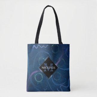 Zany Unique | Name Cute Pastel Chalk Blue Scribble Tote Bag