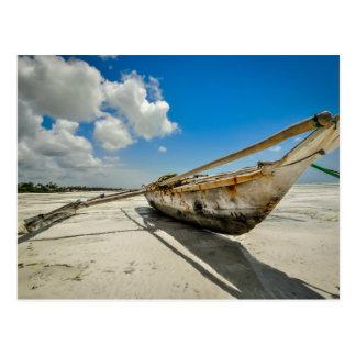 Zanzibar fisher boat postcard