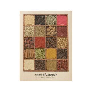 Zanzibar spices wood poster