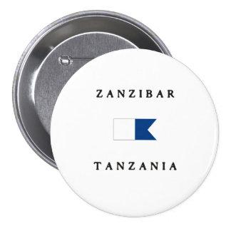 Zanzibar Tanzania Alpha Dive Flag Pinback Button