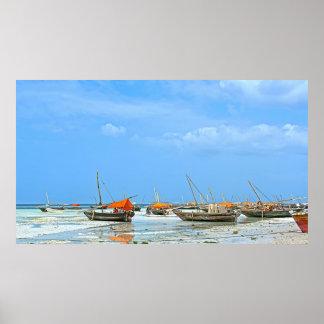 Zanzibar white sand and fish boats poster