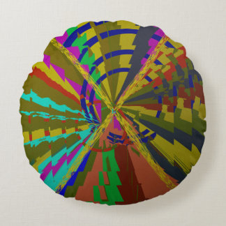 Zap Abstract Deep Colors Round Cushion