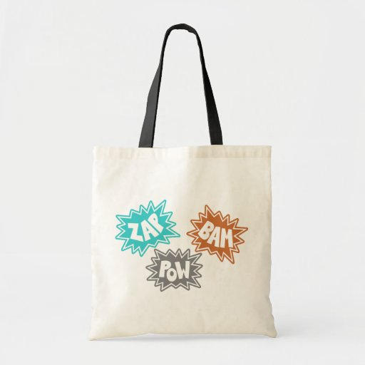 ZAP BAM POW Comic Sound FX - Orange Budget Tote Bag