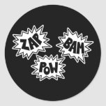 ZAP BAM POW Comic Sound FX - White Round Sticker