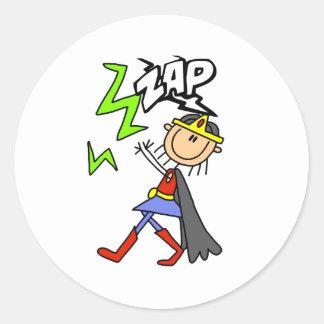ZAP Girl Hero Round Sticker