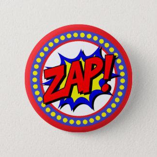 Zap Superhero Cartoon Button