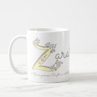 Zara name meaning decorative Z monogram mug