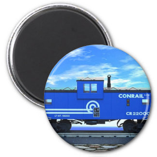 ZAZ420 Blue Caboose 6 Cm Round Magnet
