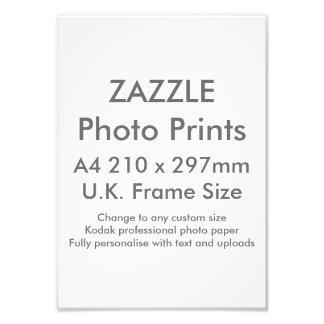 Zazzle Custom A4 Photo Print  UK Frame Size