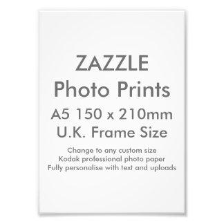 Zazzle Custom A5 Photo Print  UK Frame Size