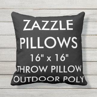 Zazzle Custom BLACK Outdoor Throw Pillow Template