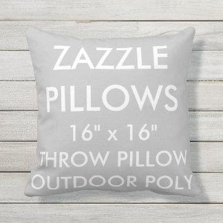Zazzle Custom SILVER Outdoor Throw Pillow Template