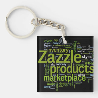 Zazzle Word Cloud - Green and Black Key Ring