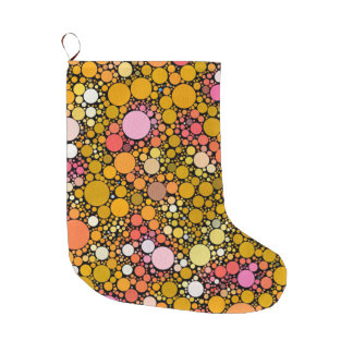 Zazzy Bubbles,orange Large Christmas Stocking