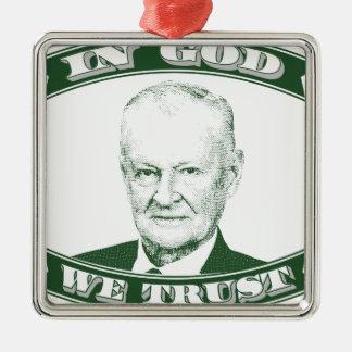 Zbigniew Brzezinski in God We trust Silver-Colored Square Decoration