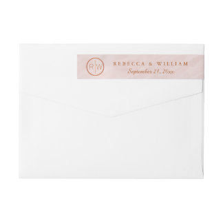 zBlush Pink Watercolor Monogram Wedding Stationary Wrap Around Label