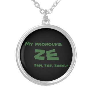 Ze or Custom Pronoun Silver Plated Necklace