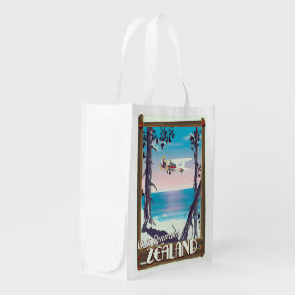 Zealand Denmark travel poster Reusable Grocery Bag