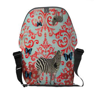 Zeb Boho Blue Butterflies Damask Messenger Bag